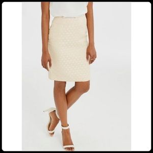 Ann Taylor Dot Jacquard Midi Pencil Skirt Cream 6